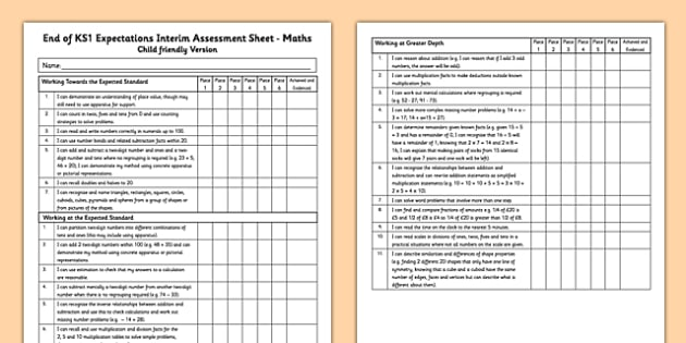 End of KS1 Expectations Interim Assessment Tracking Sheet - Maths (Child Friendly Version) - Maths (Child Friendly Version) - end of ks1, expectations, tracking sheet, track, maths
