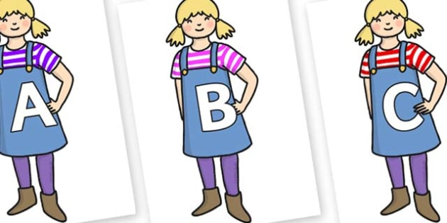 A-Z Alphabet on Little Girl - A-Z, A4, display, Alphabet frieze, Display letters, Letter posters, A-Z letters, Alphabet flashcards