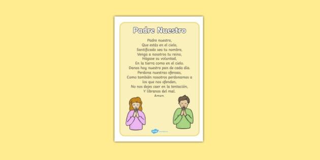 Padre Nuestro The Lord's Prayer Display Posters Spanish - spanish, Church, Christian, Lord's prayer, prayer, God Jesus, display banner, sign, posters, minister, Vicar, bible, bells, organ, Sunday, cross