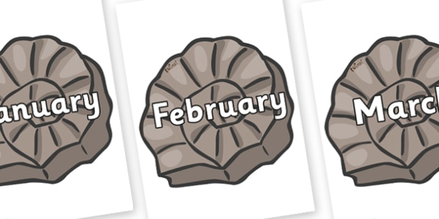 Months of the Year on Fossils - Months of the Year, Months poster, Months display, display, poster, frieze, Months, month, January, February, March, April, May, June, July, August, September