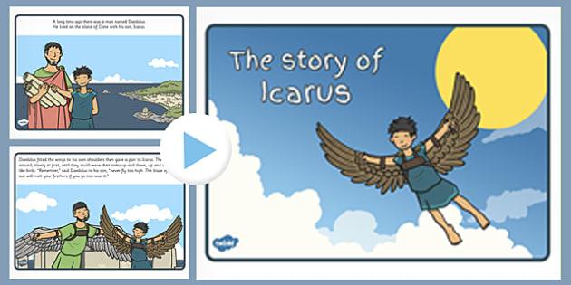 Icarus Story PowerPoint - icarus, story, powerpoint, greek, myth