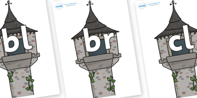Initial Letter Blends on Towers - Initial Letters, initial letter, letter blend, letter blends, consonant, consonants, digraph, trigraph, literacy, alphabet, letters, foundation stage literacy