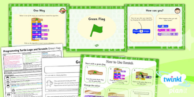 Computing: Programming Turtle Logo and Scratch: Green Flag Year 2 Lesson Pack 5