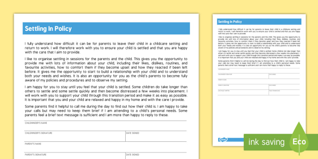 Settling In Policy for Childminders - childminder, policy, settle