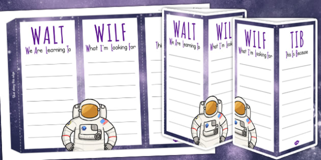 Space Themed WALT WILF TIB  Standing Tabletop Target - teach aid