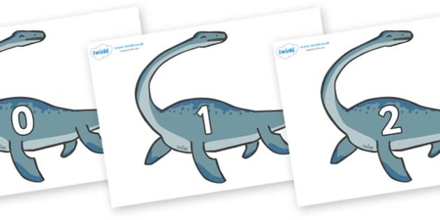 Numbers 0-50 on Plesiosaur - 0-50, foundation stage numeracy, Number recognition, Number flashcards, counting, number frieze, Display numbers, number posters