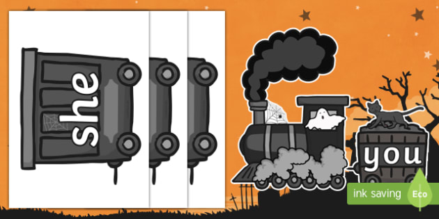 Halloween Ghost Train Phase 3 Tricky Words Display Cut-Outs