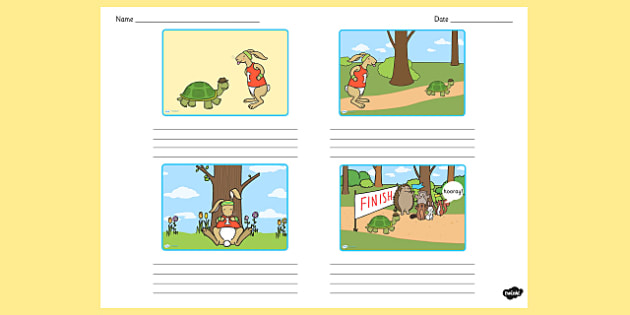 The Tortoise and the Hare Storyboard Template - storyboard, hare