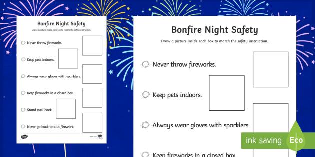 Bonfire Night Safety Poster Drawing Activity Sheet