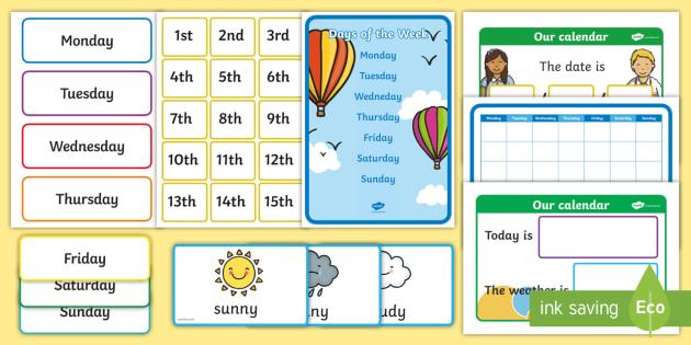 Classroom Calendar Display : Ready made days of the week calendar display pack