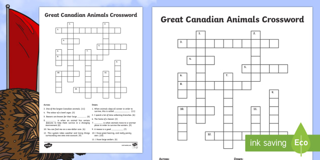 Great Canadian Animals Crossword - Great Canadian Animals, Canada, animals, animal, crossword, lynx, bear, beaver, moose