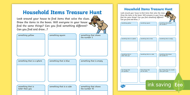 Free Household Items Treasure Hunt Teacher Made