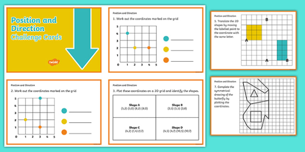 Y3 and Y4 Position and Direction Challenge Cards - Position and direction, challenge cards