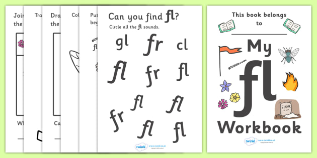 My 'fl' Letter Blend Workbook - workbook, fl, letters, blend, alphabet, activity, handwriting, blends, letter, letter blends