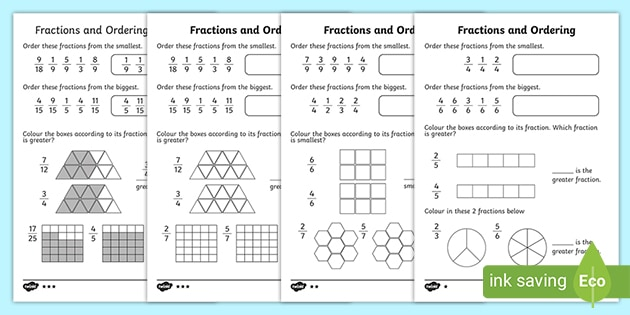 Ordering Fractions Differentiated Worksheet Primary Resources