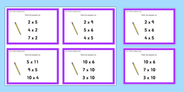 Year 2 Multiplication Challenge Cards - year 2, multiplication, challenge cards, challenge, cards