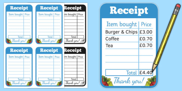 restaurant role play receipt food roleplay props eating