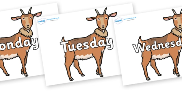 Days of the Week on Medium Billy Goats - Days of the Week, Weeks poster, week, display, poster, frieze, Days, Day, Monday, Tuesday, Wednesday, Thursday, Friday, Saturday, Sunday