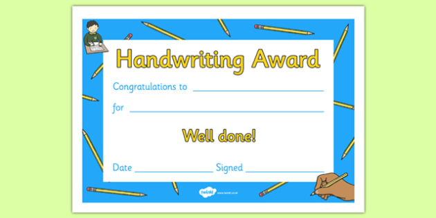 Handwriting Award Certificate Handwriting Award Literacy