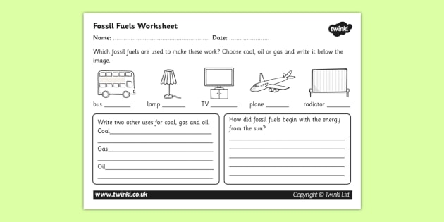 Fossil Fuel Worksheet - fossil fuels, renewable energy, energy