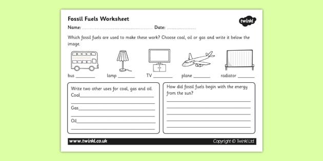 Fossil Fuel Worksheet (teacher made)