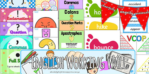 English Working Wall Display Pack - literacy working wall, pack