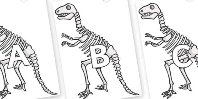 A-Z Alphabet on Dinosaur Skeletons - A-Z, A4, display, Alphabet frieze, Display letters, Letter posters, A-Z letters, Alphabet flashcards