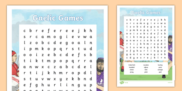 GAA Word Search English - gaa, history, ireland, word search, irish, gaeilge