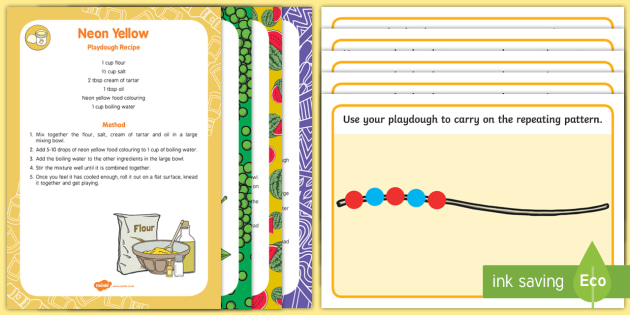 Patterns Playdough Recipe and Mat Pack - EYFS, Patterns, shape space measure, repeating patterns, sequence pattern