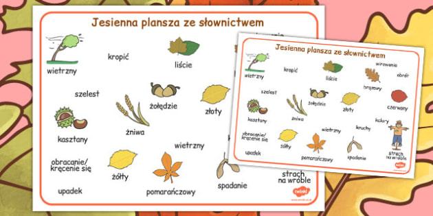 Plansze ze slownictwem Jesien po polsku - do pobrania, dzieci, Polish