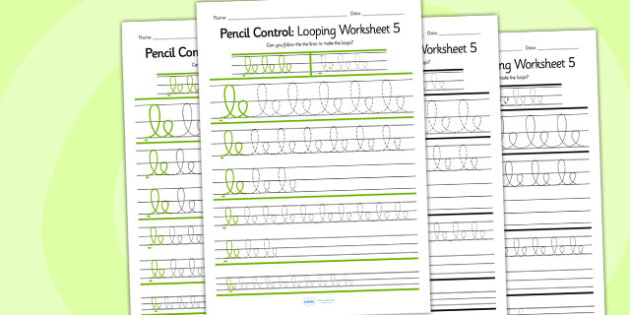 Pencil Control Looping Worksheet 5 - pencil control, looping