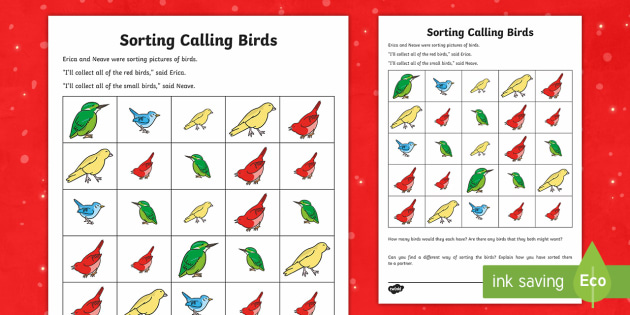 Four Calling Birds Worksheet / Activity Sheet - Christmas Maths, reason, reasoning, justify, predict, total, equals, inverse, sum, altogether, add,