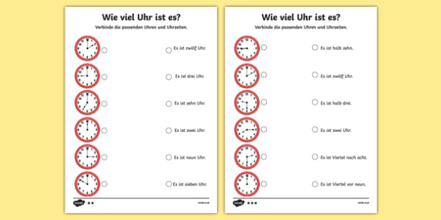 Telling the Time in German Worksheet / Activity Sheet, worksheet
