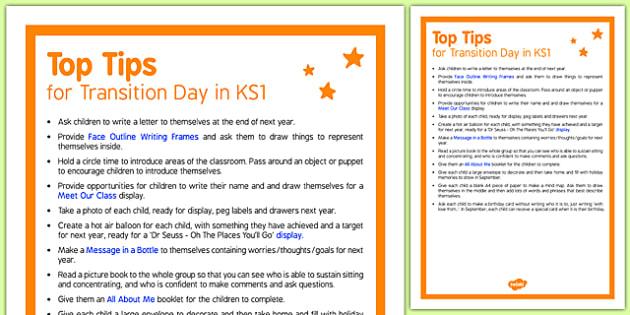 Transition Day in KS1 Top Tips - KS1 Transition Ideas