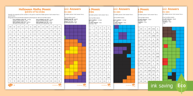 NEW * UKS2 Halloween Maths Mosaic Differentiated Activity