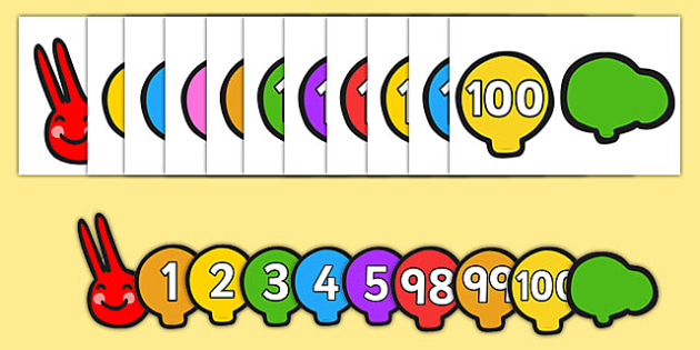 0 to 100 on Caterpillar Number Line - zero, nought, 100, a hundred, number, numbers, display, maths, numeracy, caterpillar, minibeasts