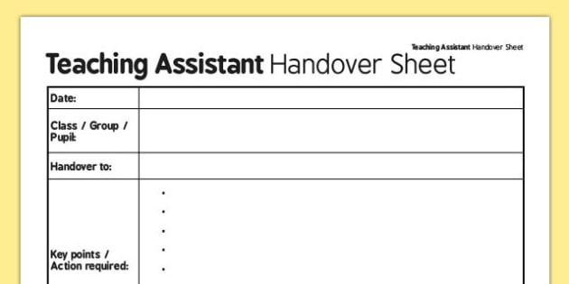 Teaching Assistant Handover Sheet - teaching assistant, handover, sheet, assistant