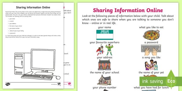 KS1 Sharing Information Online Discussion Worksheet ...