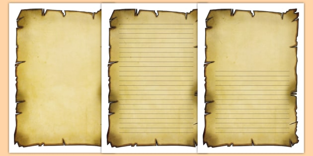 Burnt Paper Writing Frames - Pirates Scroll Page Borders - Page