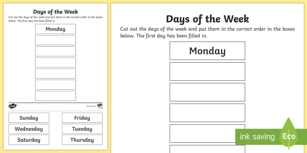 Days Of The Week Cut And Stick Worksheet (teacher Made)