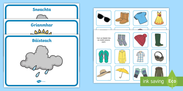 Weather Clothes Sorting Activity Gaeilge Aimsir 233 Ada 237