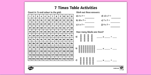 KS2 Maths Worksheet: 7 x Table - Primary Resources