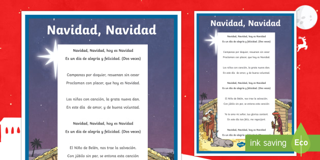 Jingle Bells Christmas Carol Lyrics Display Poster Spanish