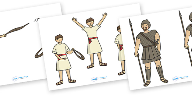 David and Goliath Story Cut Outs - David and Goliath, David, King Saul, Goliath, cut outs, cutting, cut, Philistine army, Israelite, sling, stones, sling and stones, death, kill, small, giant, clever