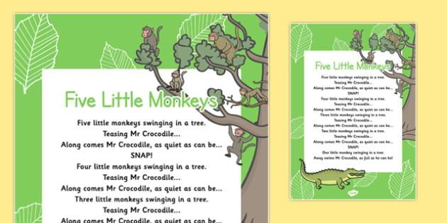 Five Little Monkeys Nursery Rhyme Poster - rhymes, poems, display