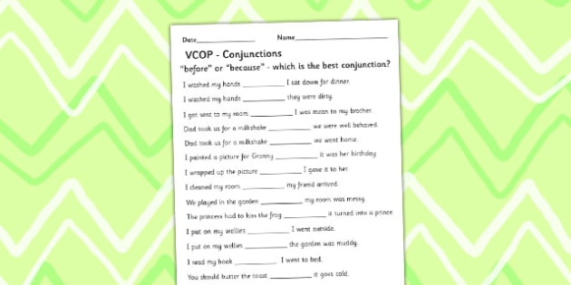 'Before' and 'Because' Conjunctions Activity Sheet - Connectives, Because