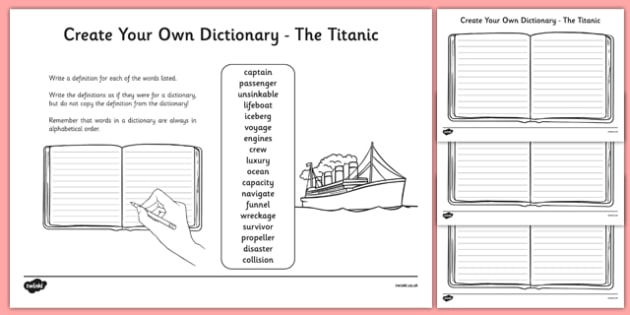 The Titanic Key Vocabulary Create Your Own Dictionary