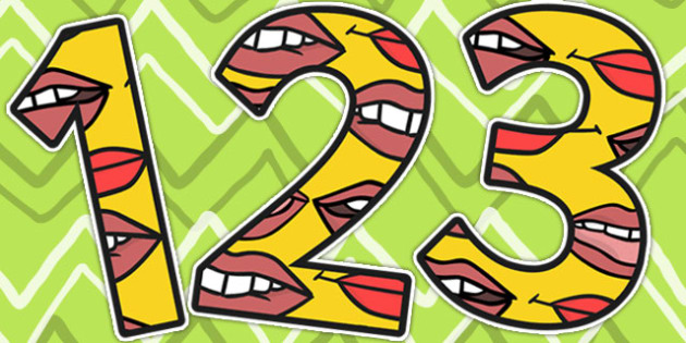 Mouth Themed A4 Display Numbers - ourselves, all about me, body