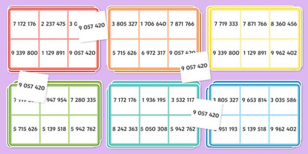 7-Digit Number Bingo