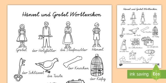 Hänsel und Gretel Wortlexikon Arbeitsblatt - Hänsel und